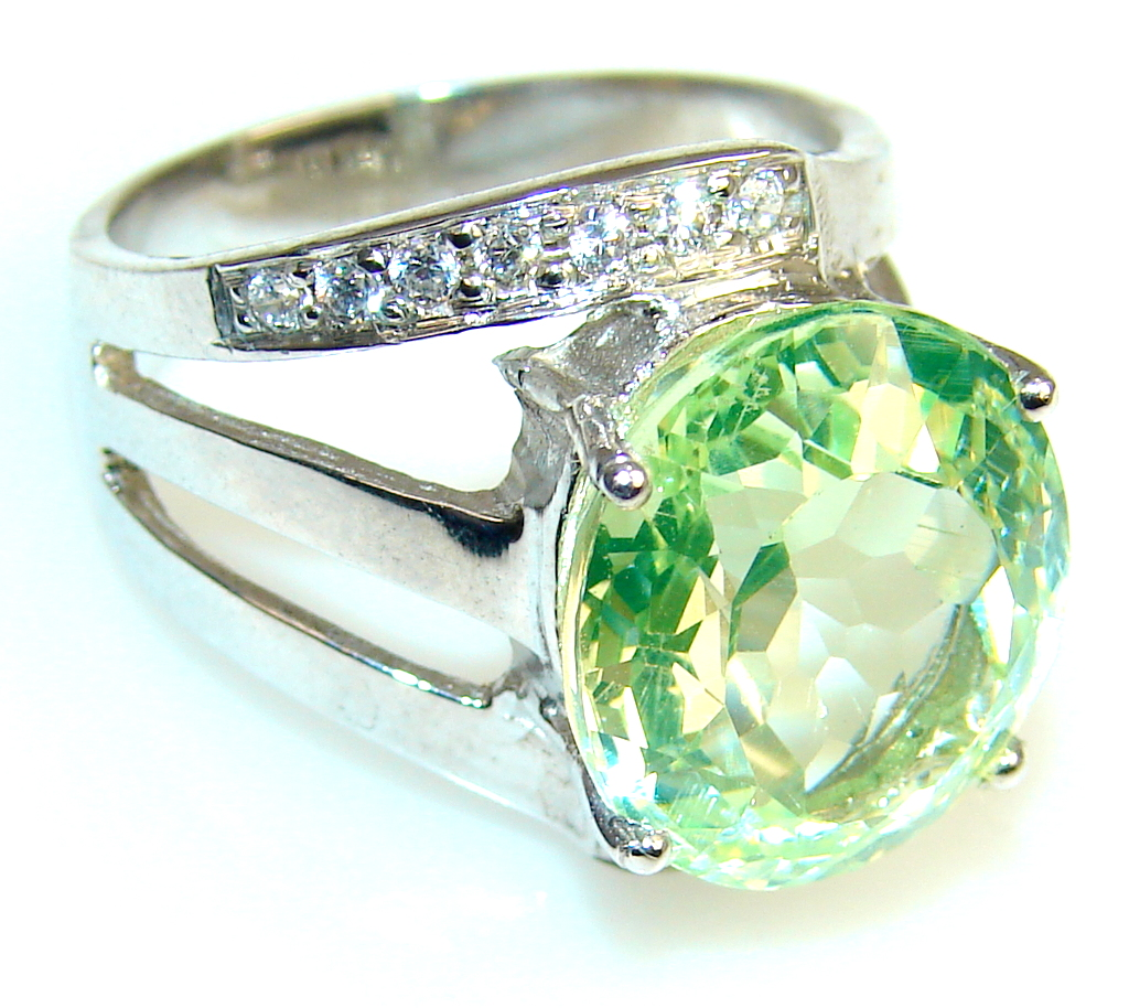 Image of My Sweet Created Peridot Quartz Sterling Silver ring s. 7