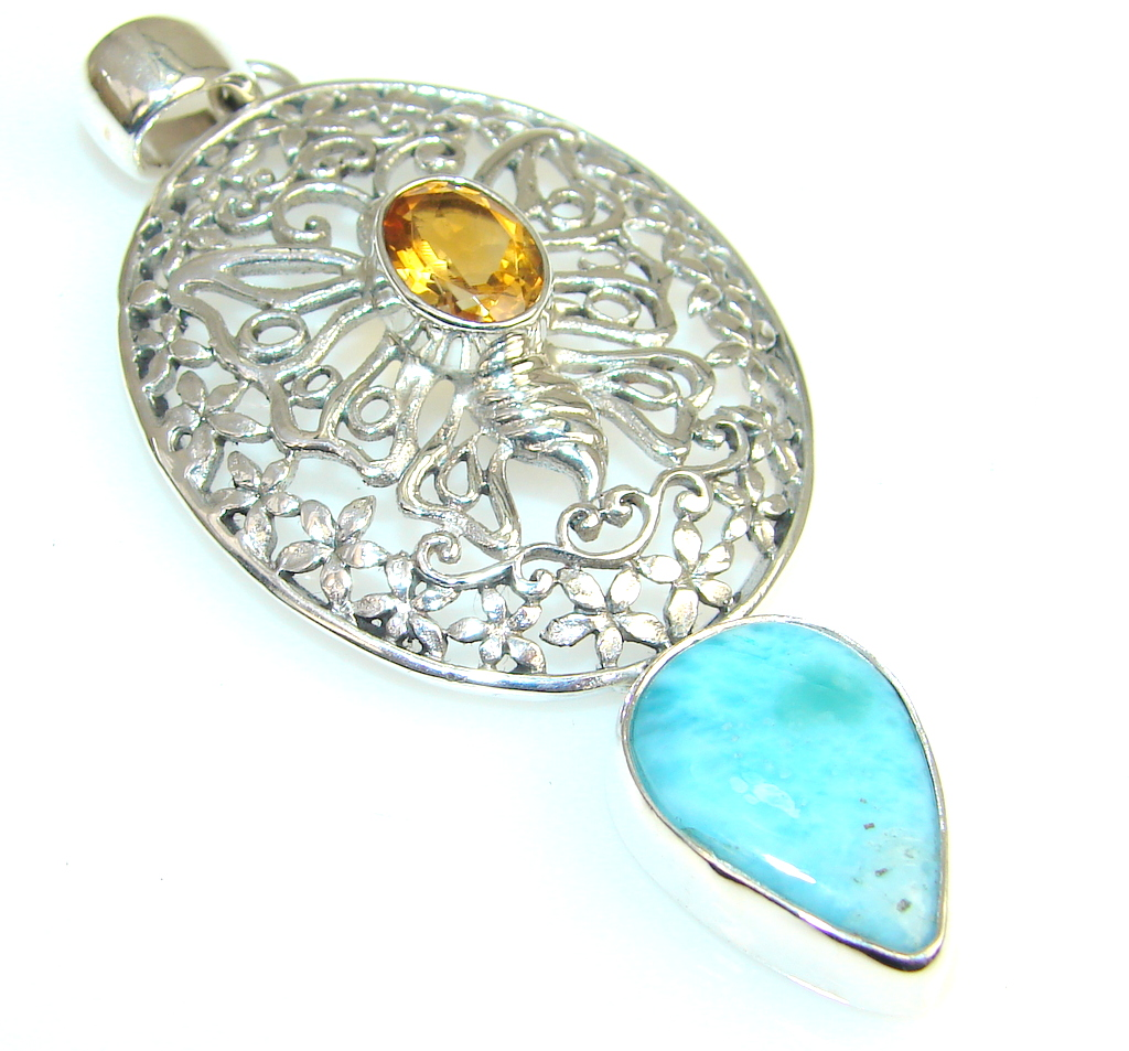 Azure Fruit Citrine Sterling Silver Pendant