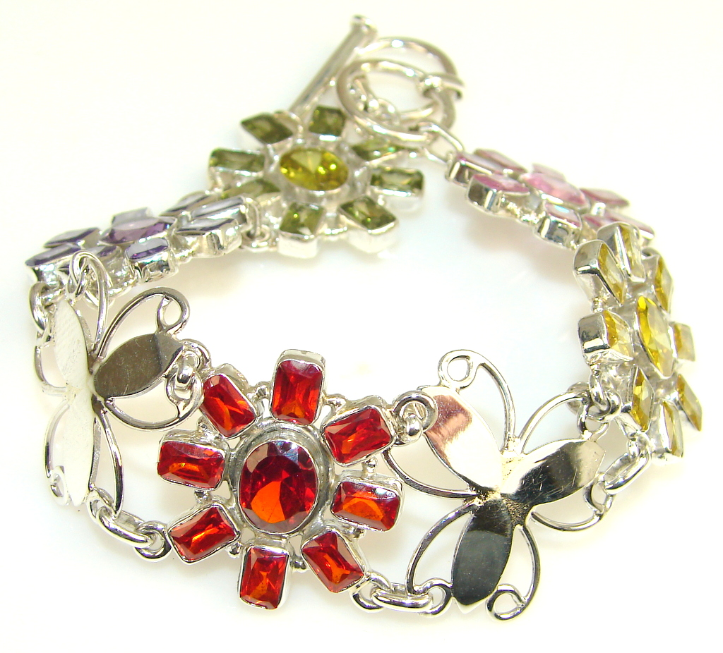 Floral Garden Multicolor Quartz Sterling Silver Bracelet