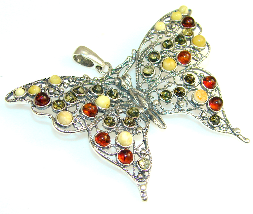 Perfection Butterfly Amber Sterling Silver Pendant