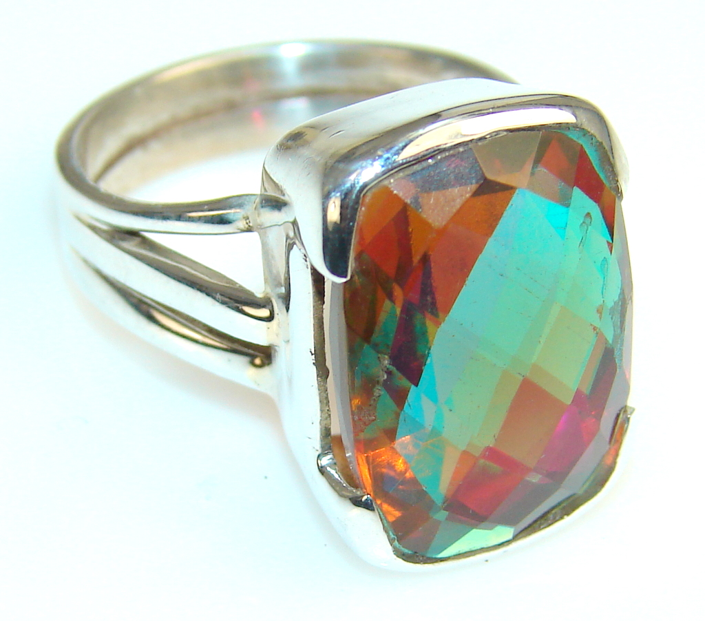 Precious Dichroic Glass Sterling Silver ring s. 7 1/2