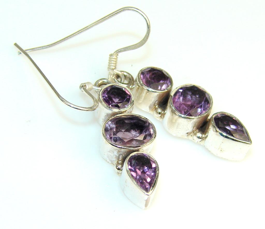 Beauty Lilac Quartz Sterling Silver Earrings