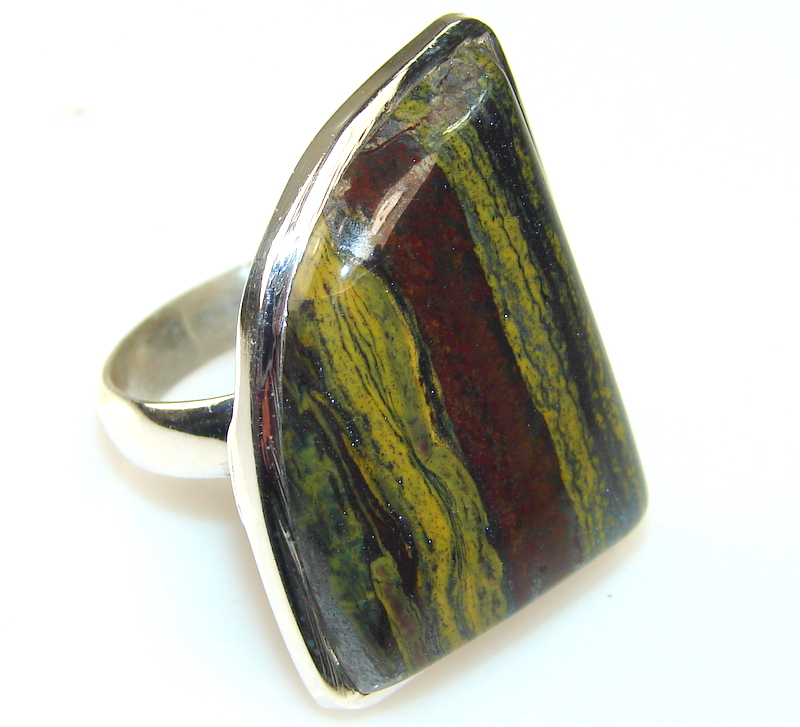 Image of Very Unique Iron Tigers Eye Sterling Silver Ring s. 7 1/2