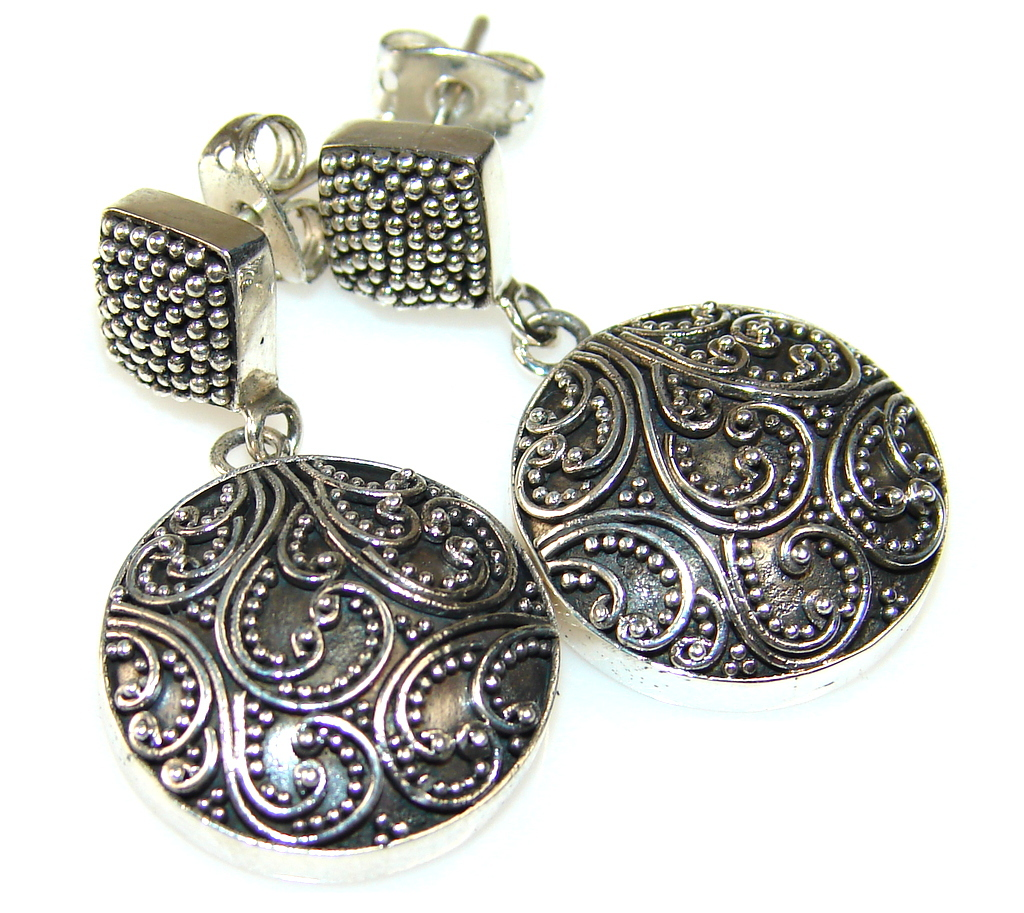Image of Charming Oriental Pure Sterling Silver Earrings