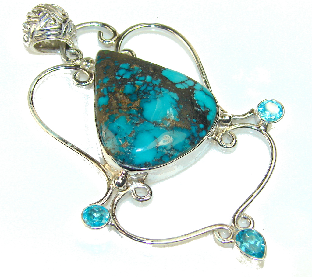 Beautiful Copper Turquoise Sterling Silver Pendant