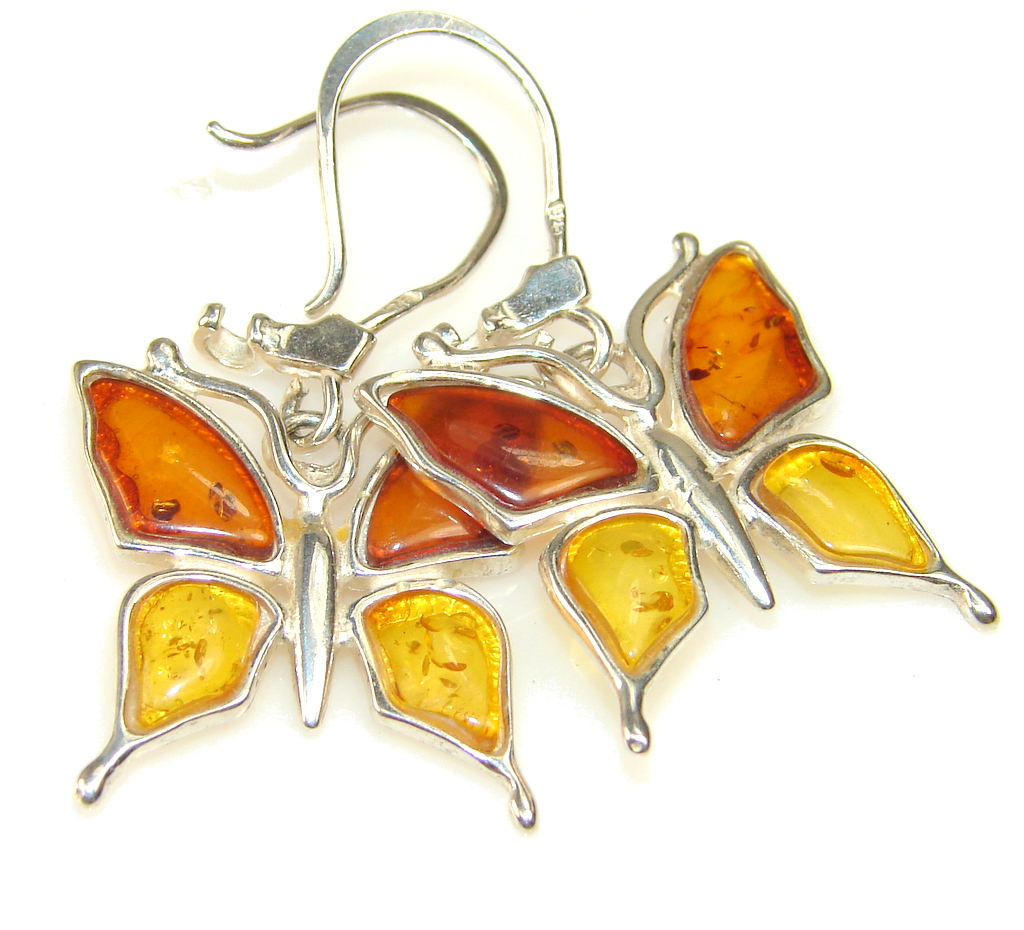 Beautiful Polish Amber Sterling Silver earrings