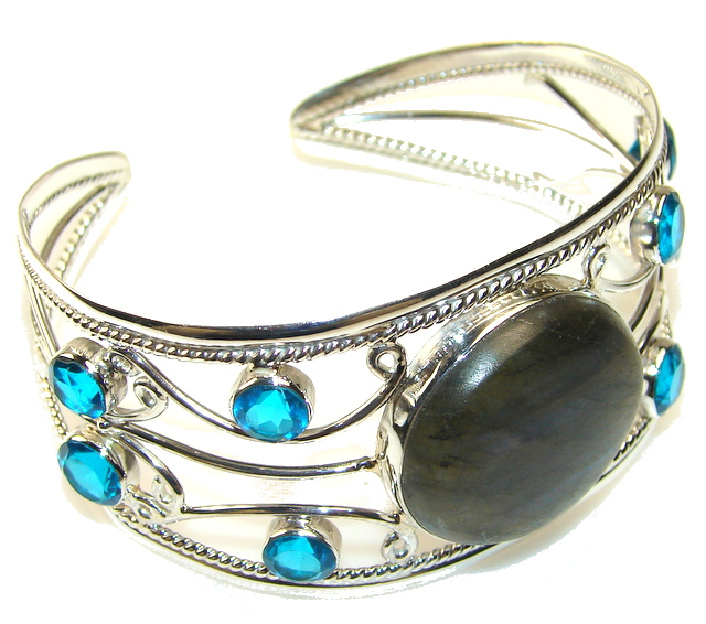 Beautiful Labradorite Sterling Silver Bracelet / Cuff