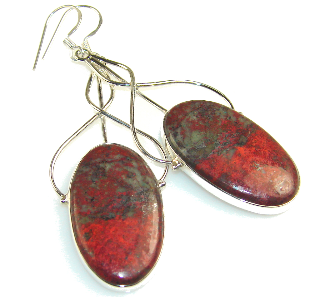 Beauty Red Sonora Jasper Sterling Silver earrings