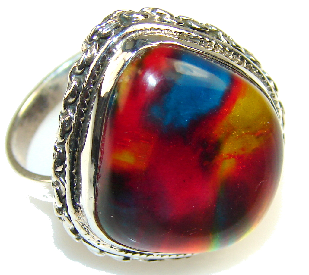 Excellent Dichroic Glass Sterling Silver ring s. 8