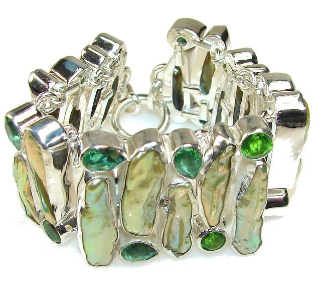 Yellow Aura!! Blister Pearl Sterling Silver Bracelet