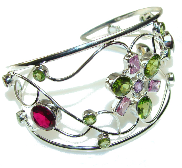 Illusion Floral!! Multicolor Quartz Sterling Silver Bracelet / Cuff