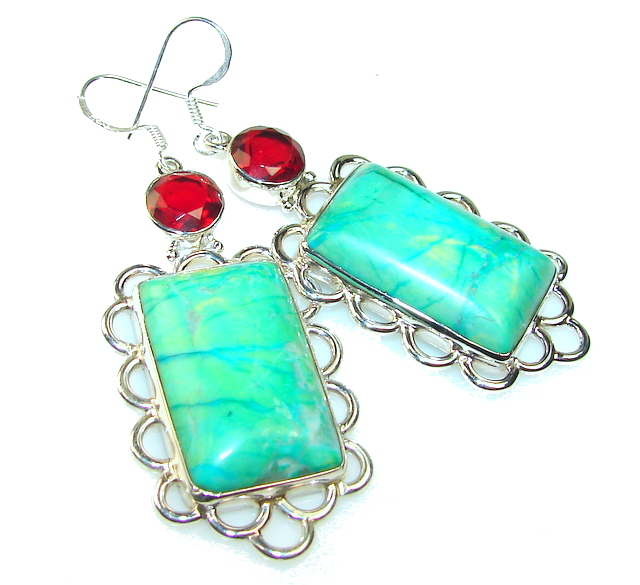 Beautiful Green Turquoise Sterling Silver earrings