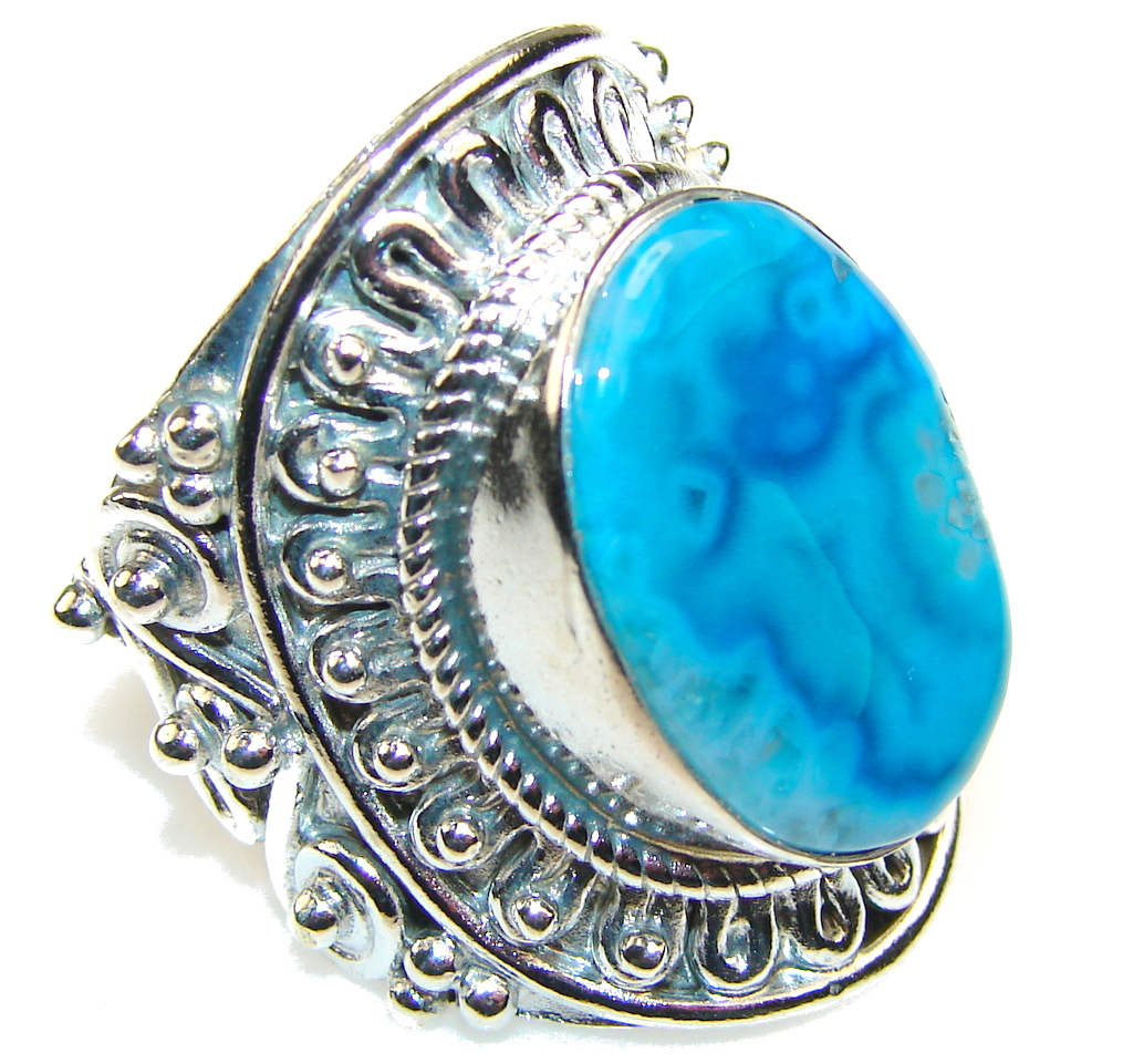 Passion Blue Agate Sterling Silver Ring s. 8 1/2