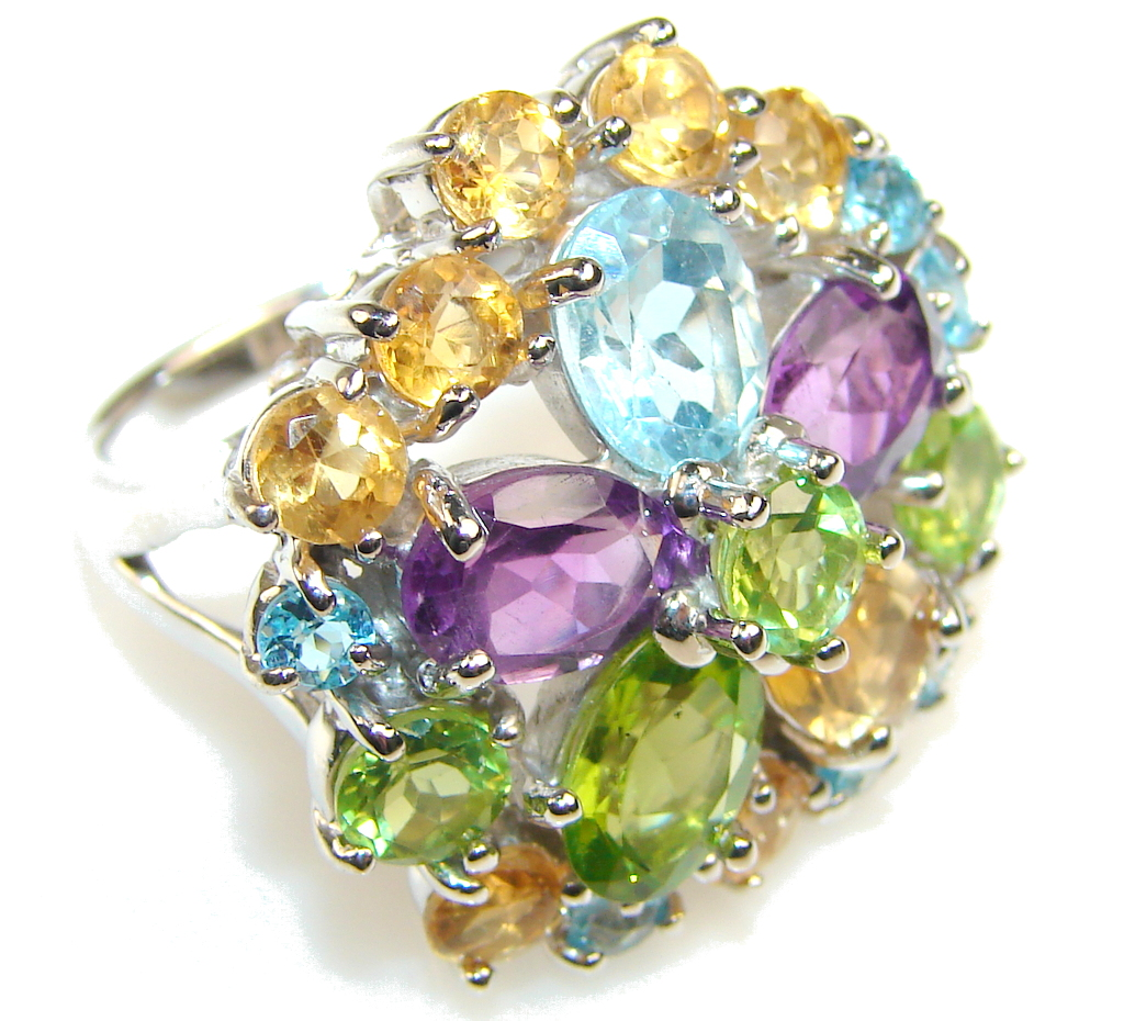Fiesta Fun Multicolor Quartz Sterling Silver Ring s. 7