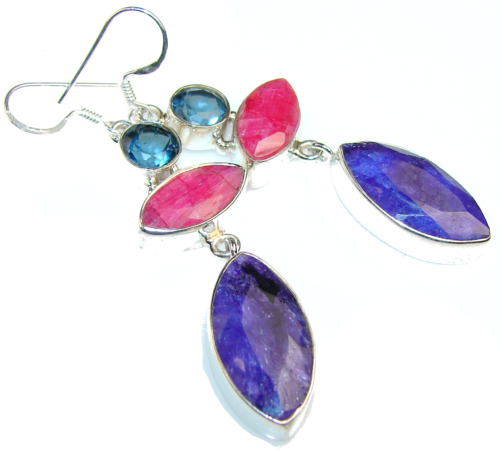 Gorgeous!! Multicolor Sapphire Sterling Silver earrings