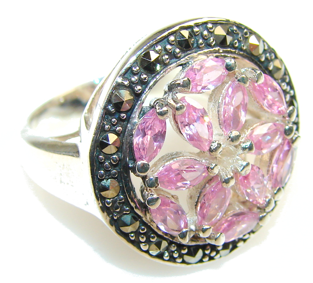 Beautiful Pink Topaz Sterling Silver ring; size. 8