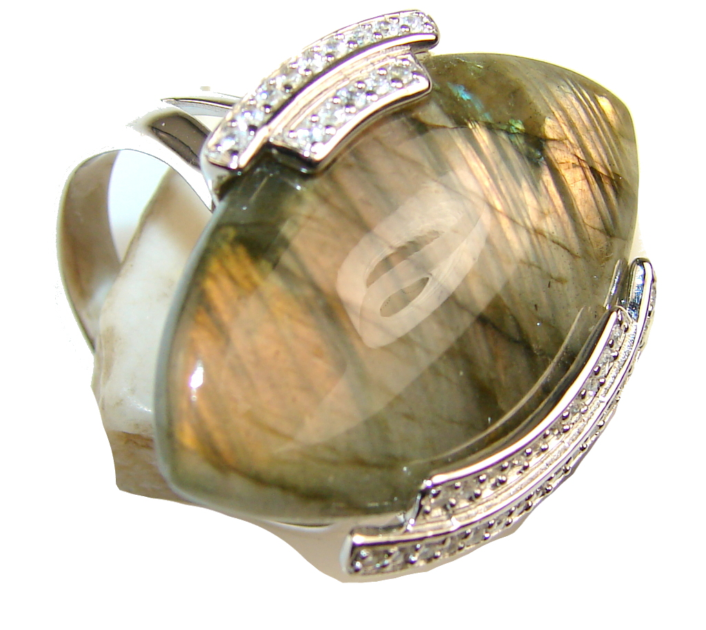 Awesome Color Of  Labradorite Sterling Silver Ring s. 11 1/4