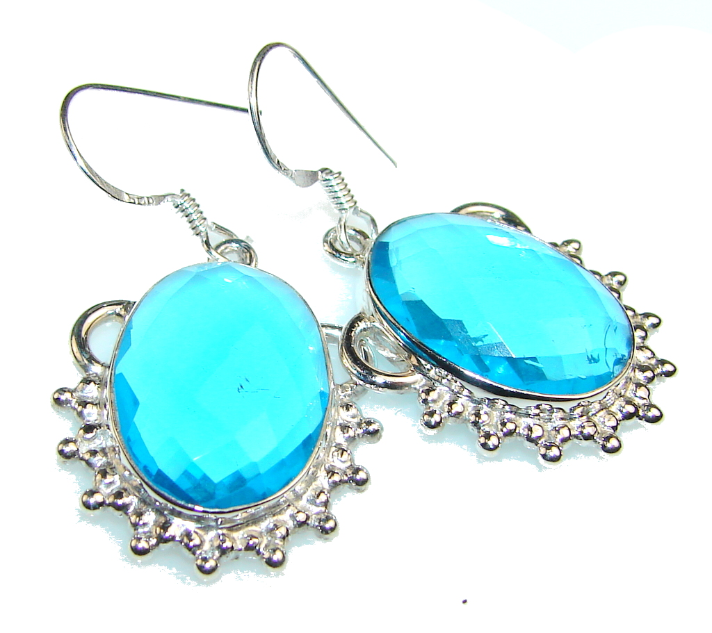 Image of Secret Blue Topaz Quartz Sterling Silver earrings