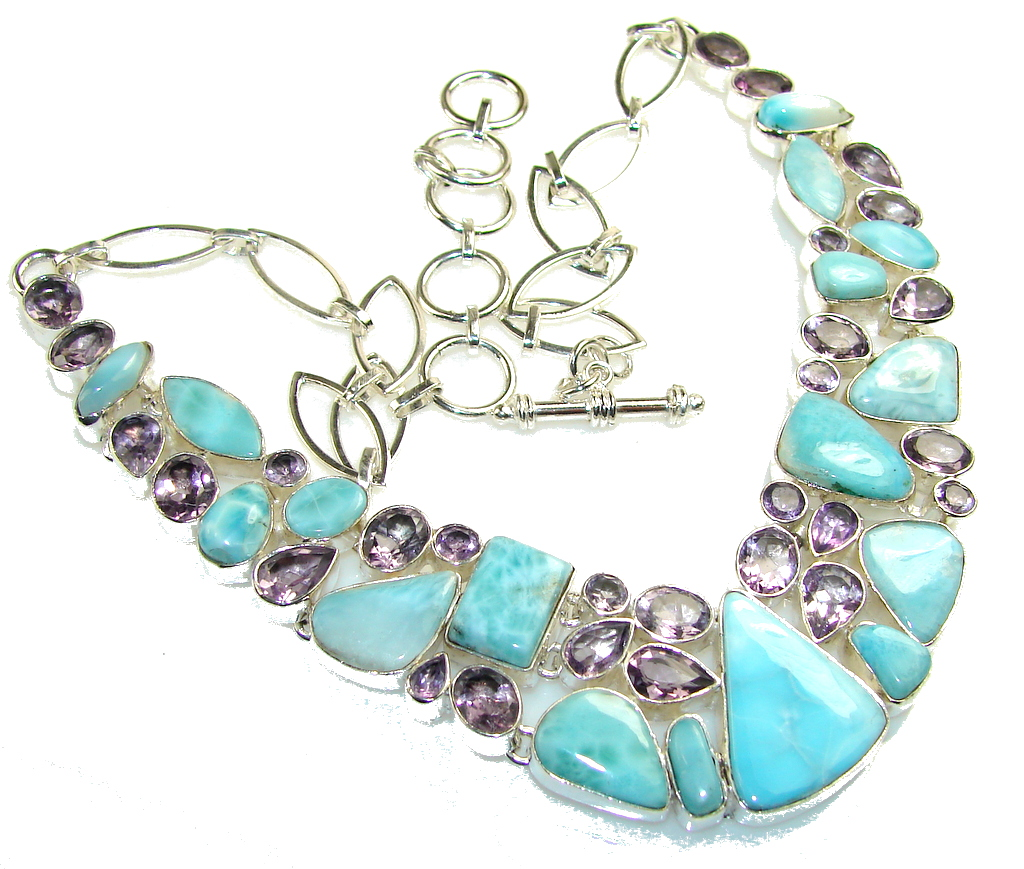 Image of The One!! Blue Larimar Sterling Silver necklace
