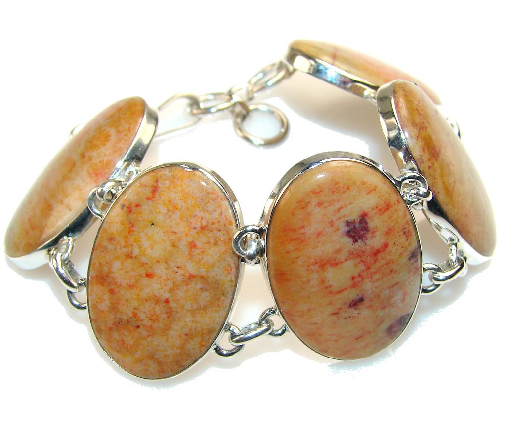 Image of Fantastic Fossilized Coral Sterling Silver Bracelet