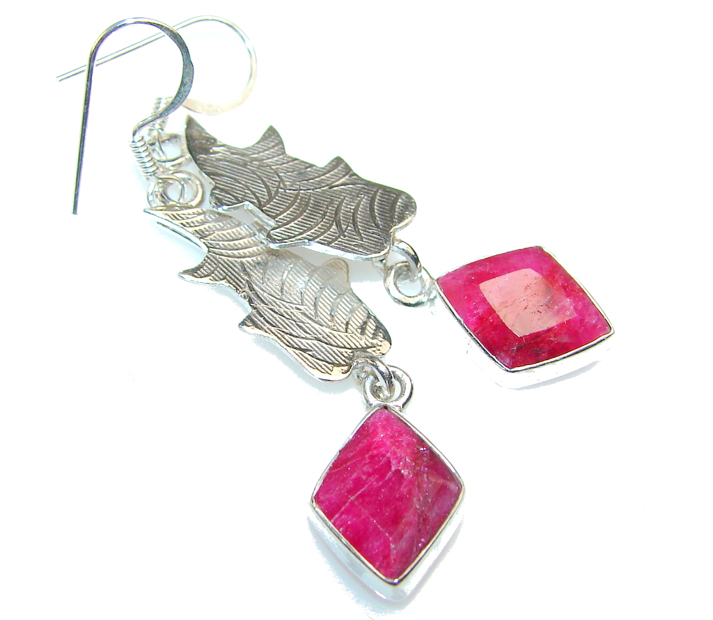 Excellent Design Of Ruby Sterling Silver earrings