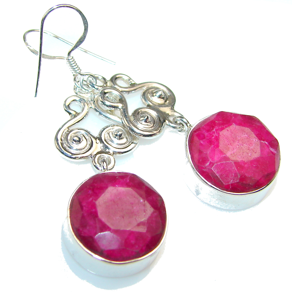 Love Power!! Pink Ruby Sterling Silver earrings