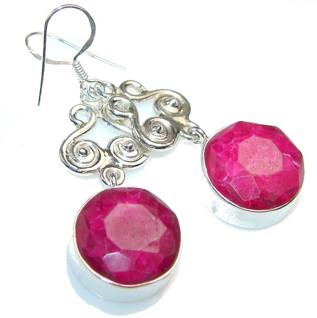 Love Power!! Pink Ruby Sterling Silver earrings