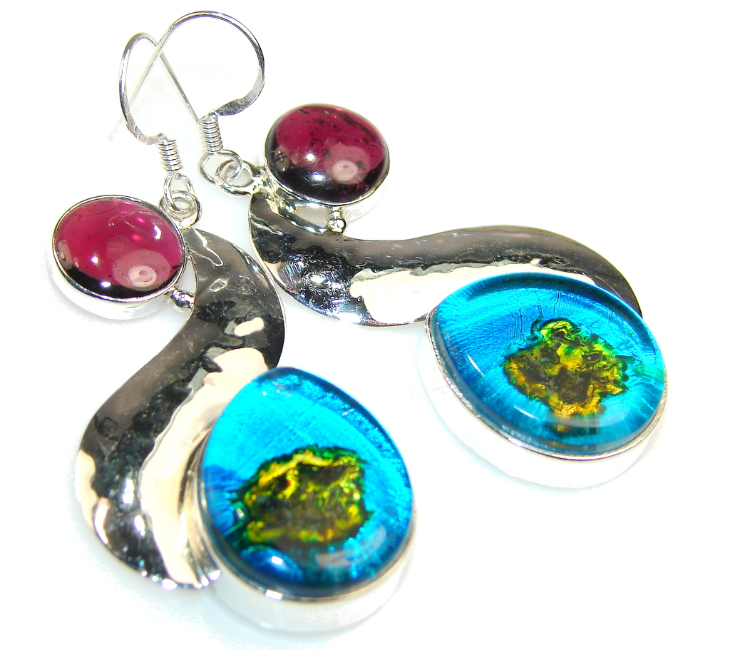 Island Fantasy!! Dichroic Glass Sterling Silver earrings
