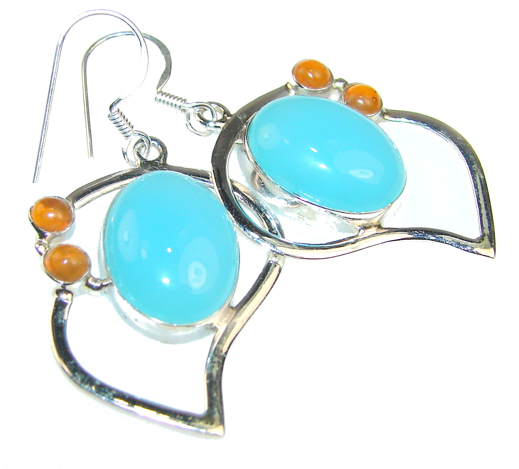 Aura Of Beauty!! Blue Aquamarine Sterling Silver Earrings