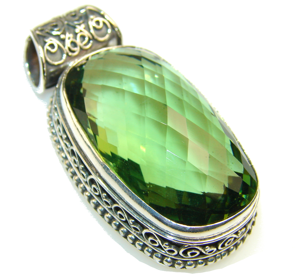 Amazing Green Quartz Sterling Silver Pendant