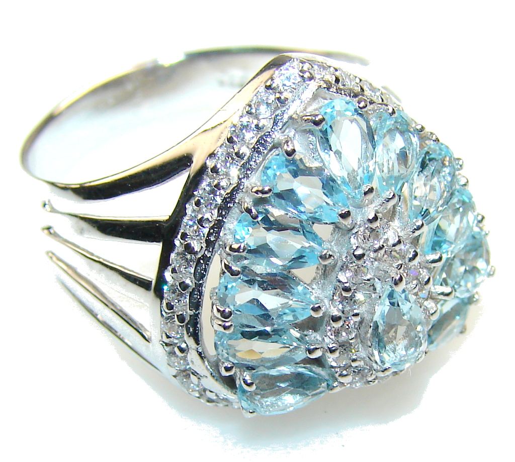 Amazing Swiss Blue Topaz Sterling Silver Ring s. 9 1/4
