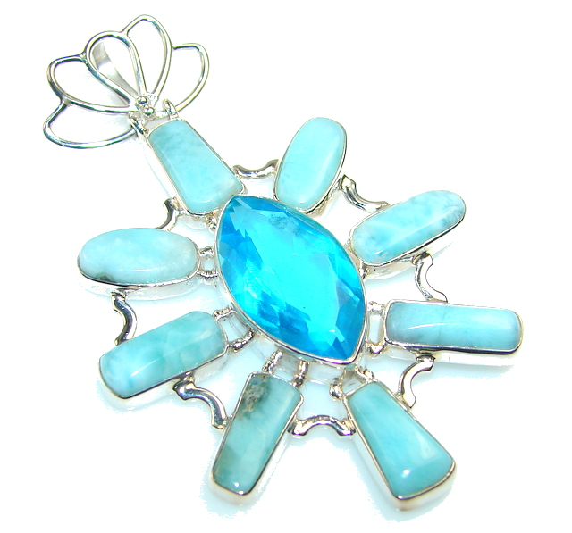 Beautiful London Blue Topaz Sterling Silver Pendant