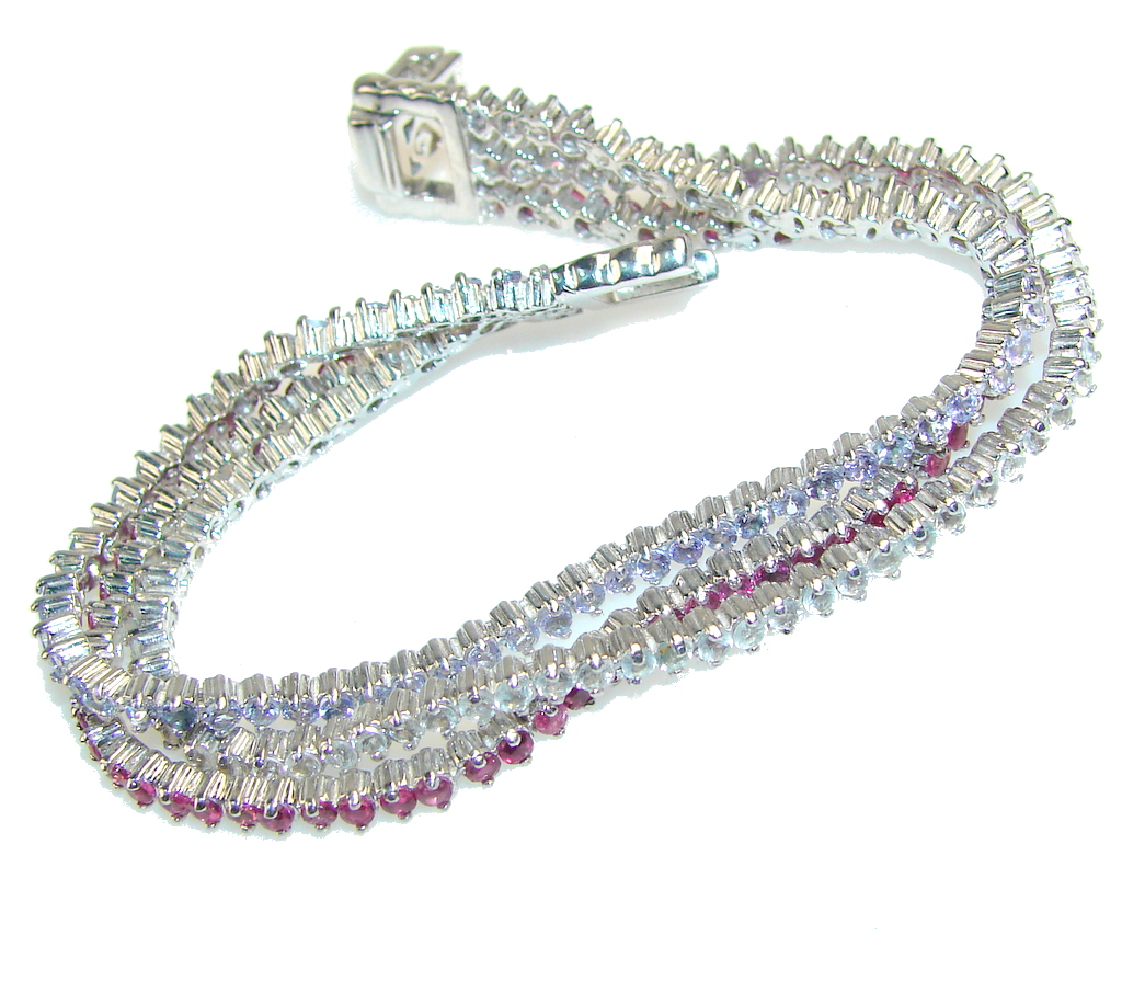 Awesome Light Tanzanite Quartz Sterling Silver Bracelet