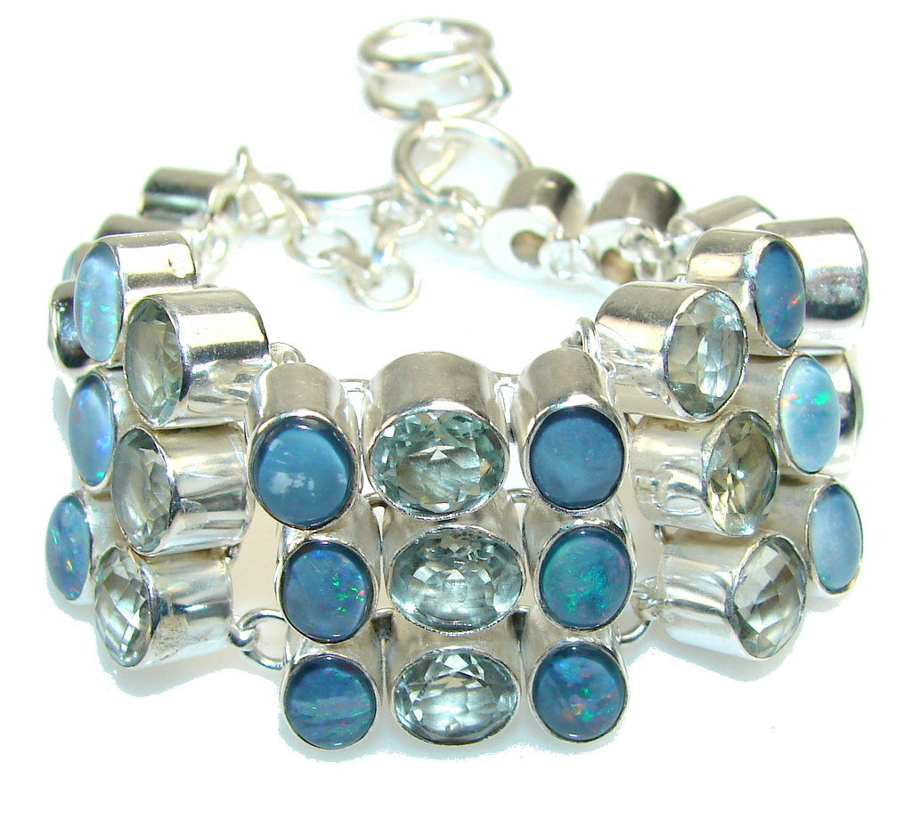 Delicate Blue Topaz and fire Opal Sterling Silver Bracelet