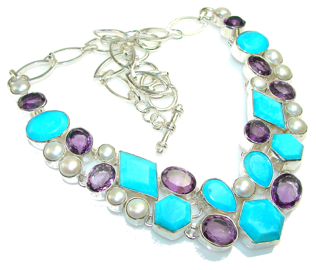 Image of Awesome Color Of Stabilized Turquoise Sterling Silver necklace