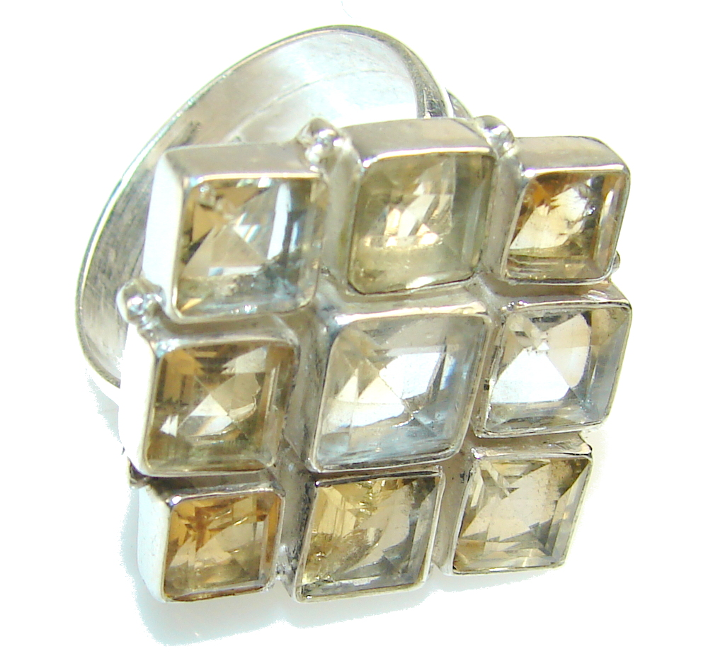 Chennai Sun!! Citrine Quartz Sterling Silver Ring s. 10