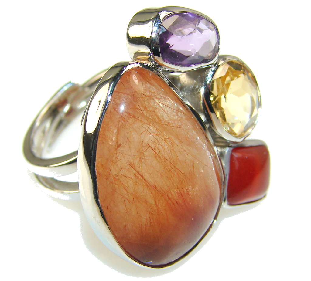 Natural Beauty Golden Calcite Sterling Silver Ring s. 8 & up