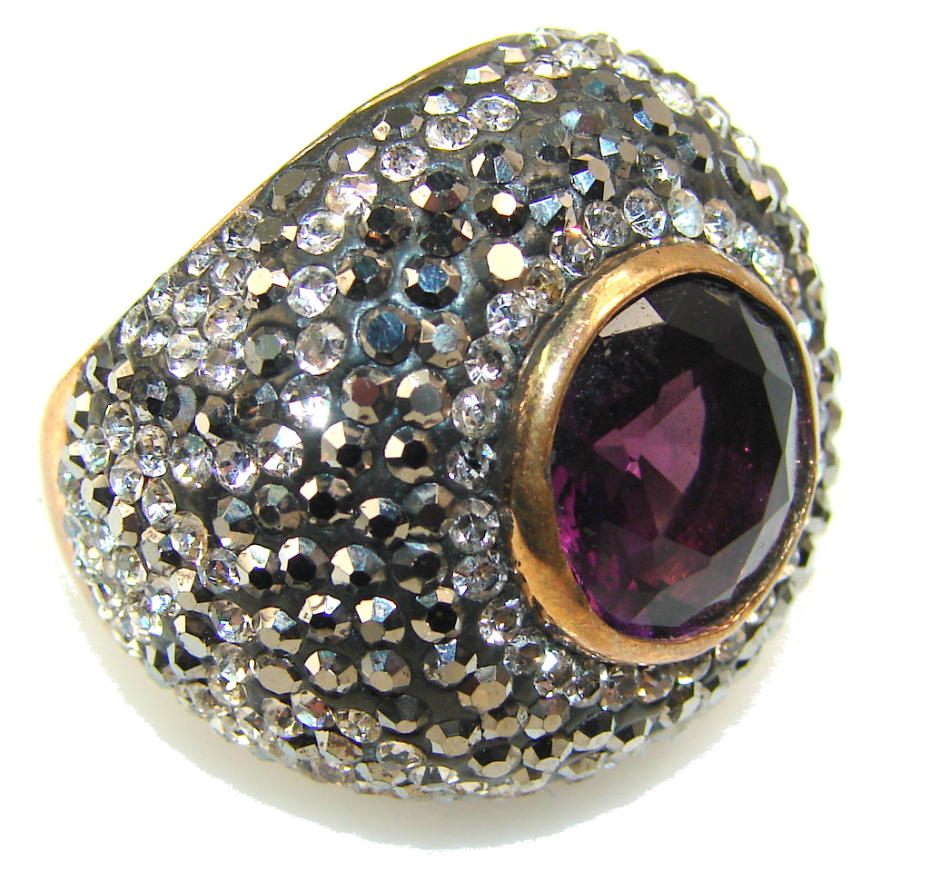 marcassite.com Stylish Amethyst Sterling Silver Ring s. 7 1/4
