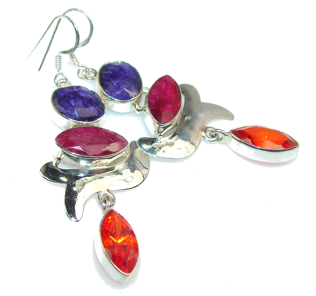 Party Time!! Pink Ruby Sterling Silver earrings