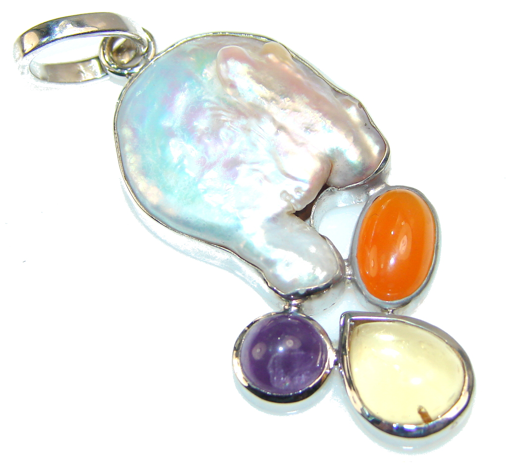 White Heat!! Mother Of Pearl Sterling Silver Pendant