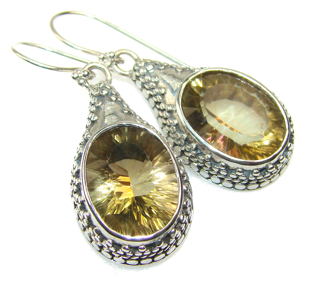 Natural Bali Design Beauty Citrine Sterling Silver Earrings