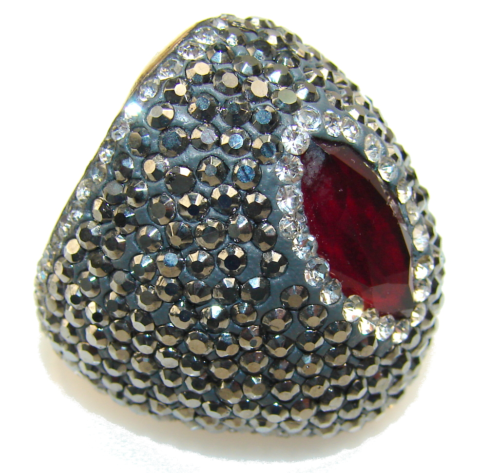 Gorgeous Design Of Red Ruby Sterling Silver Ring s. 8