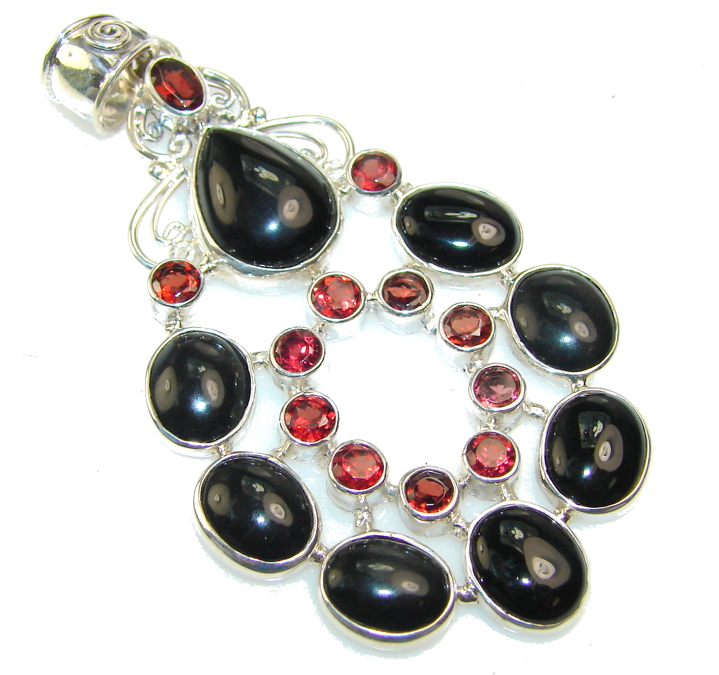 Awesome Black Onyx Sterling Silver Pendant