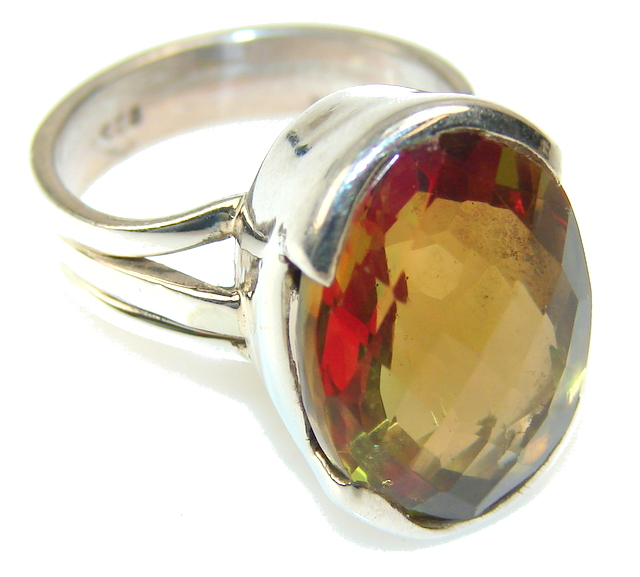 Awesome Color Changing Quartz Sterling Silver ring s. 7 1/4