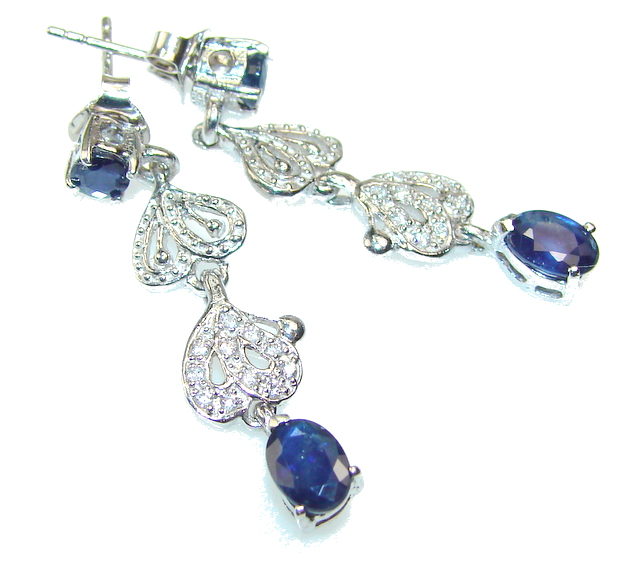 Luxury Blue Sapphire Sterling Silver earrings