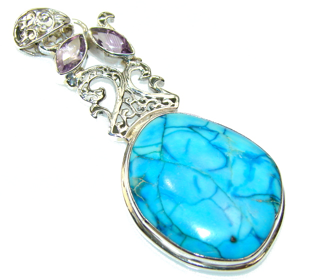 Secret Blue Sea Sediment Jasper Sterling Silver Pendant