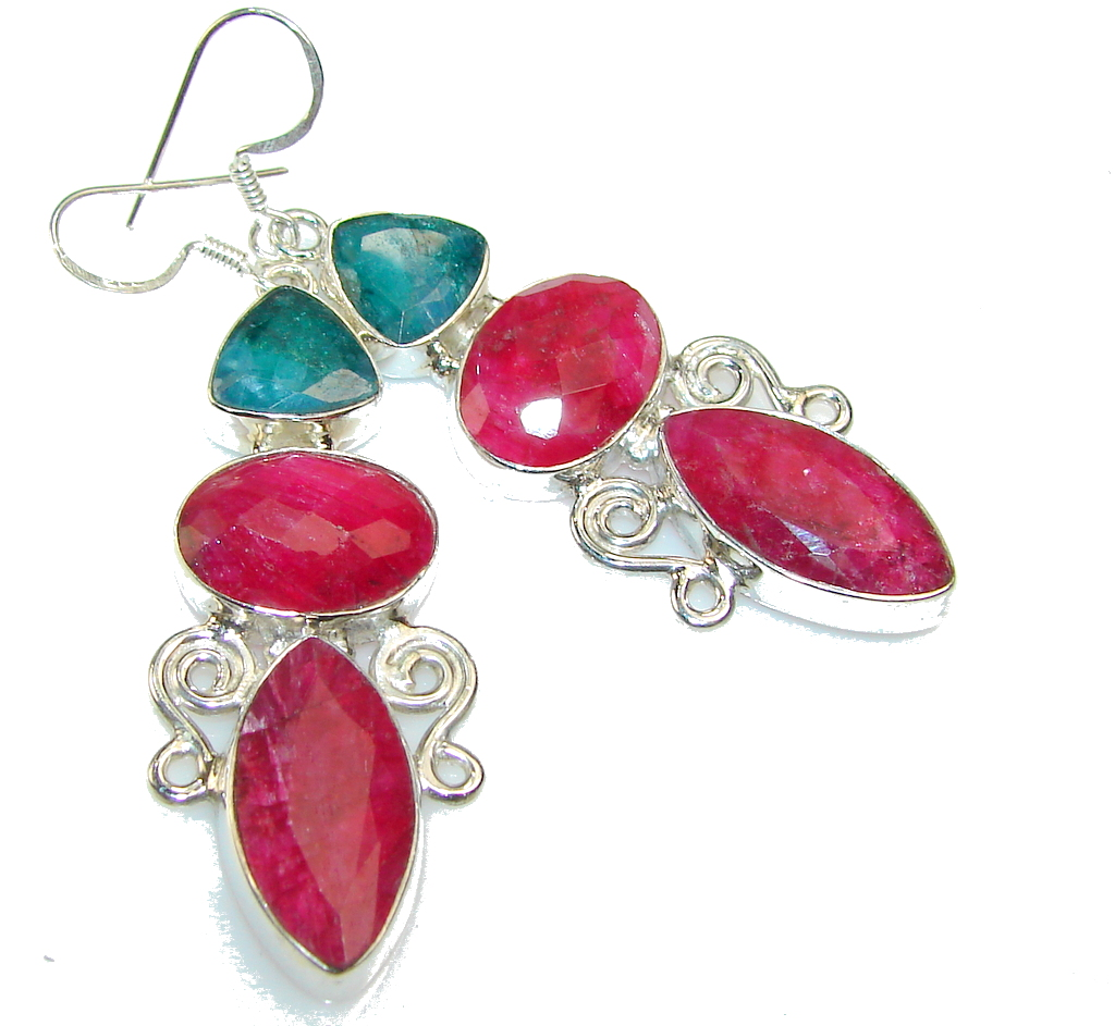 My Sweet Pink Ruby Sterling Silver earrings