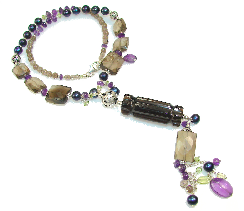 Fabulous Smoky Quartz Sterling Silver necklace
