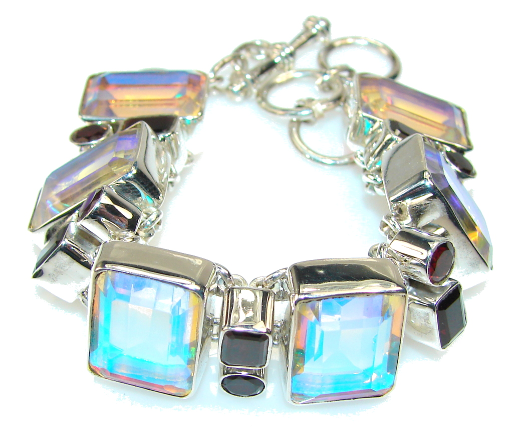 Fabulous Dichroic Glass Sterling Silver Bracelet