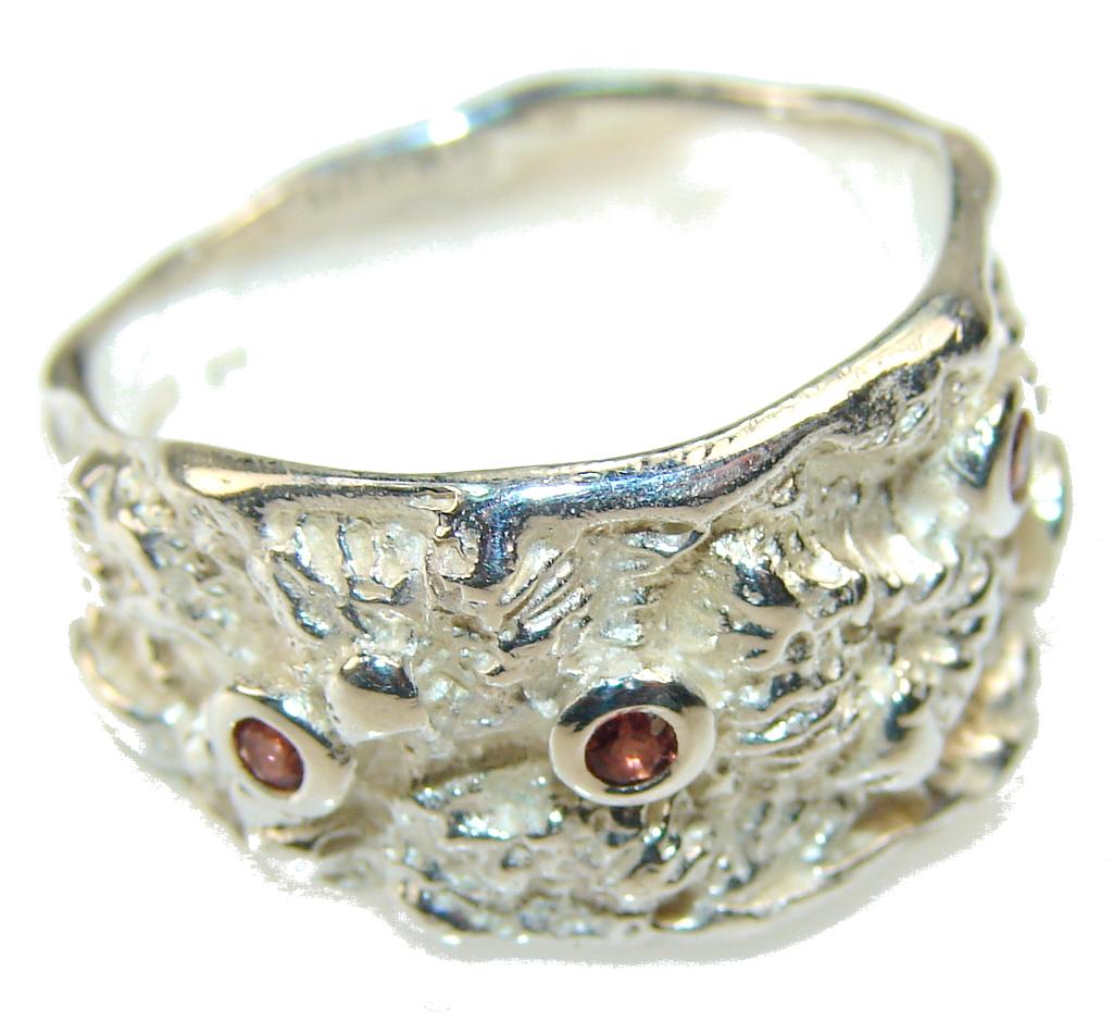 Inspire Italy Made Garnet Sterling Silver Ring s. 6 1/2
